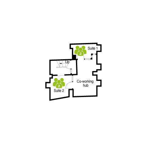 Basement layout at Merchant House, Abingdon - 2 office suites and co-working hub.