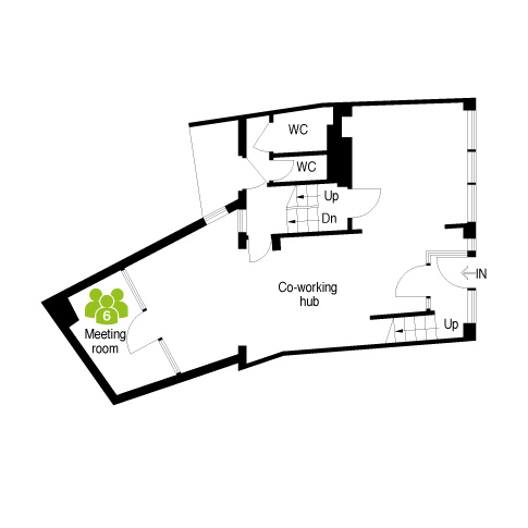 Merchant House, Abingdon Ground Floor plan - meeting room and co-working hub