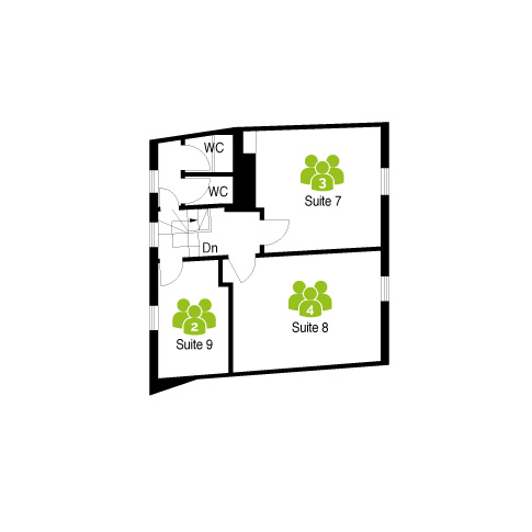 Floor plan for Merchant House Abingdon (second floor) with 3 serviced offices.
