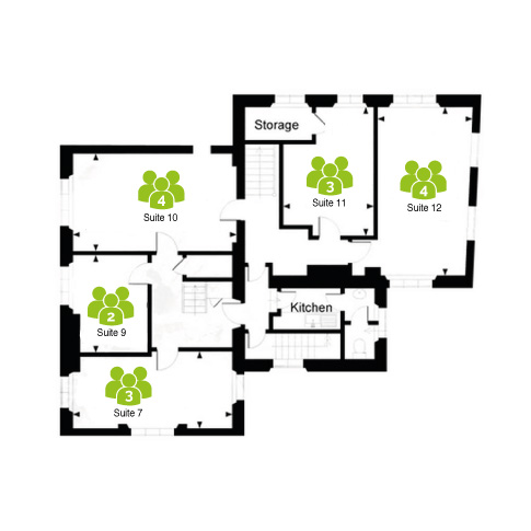 Arquen House Business centre, St Albans first floor layout with 5 private office suites and shared kitchen