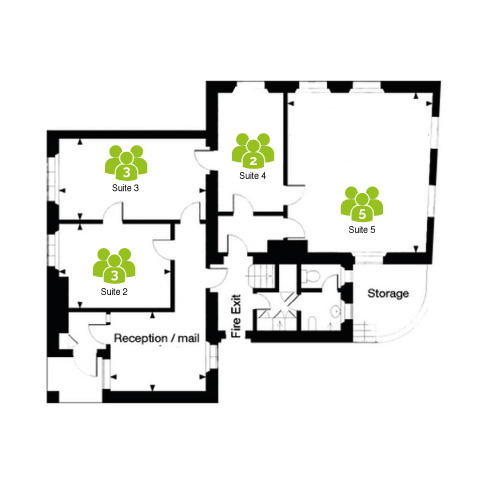 Floorplan for Arquen House Business Centre St Neots (ground floor) - reception and 3 office suites