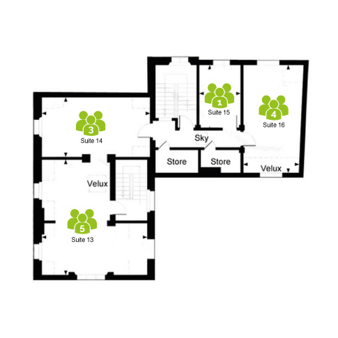 St Albans floorplan - Arquen House layout with 4 serviced offices.