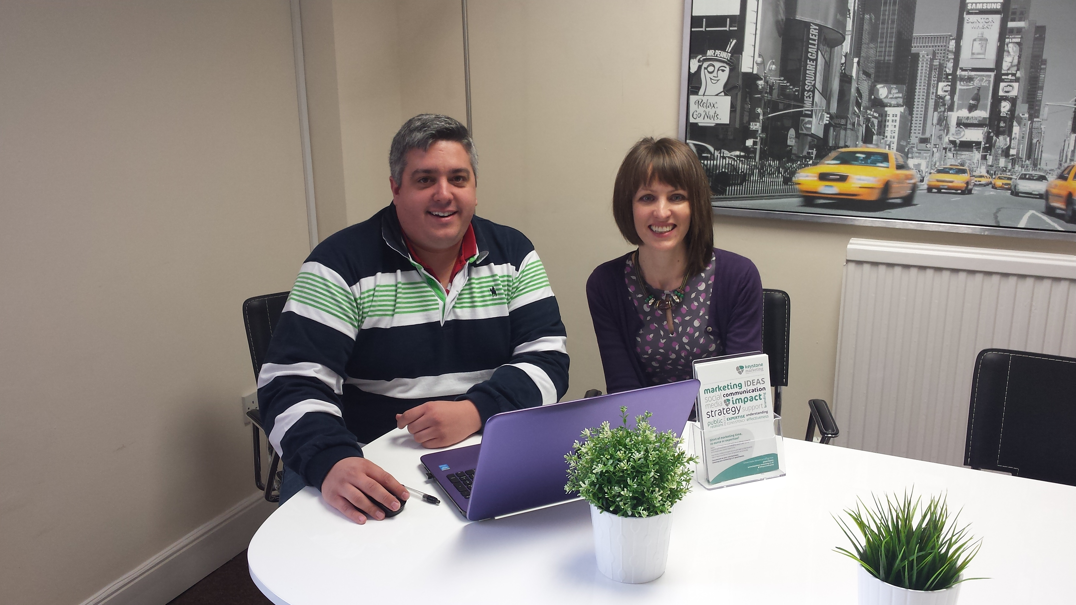 Cameron Paul of Spinifex Accounting and Hayley Williams of Keystone Marketing at The Workstation, St Neots
