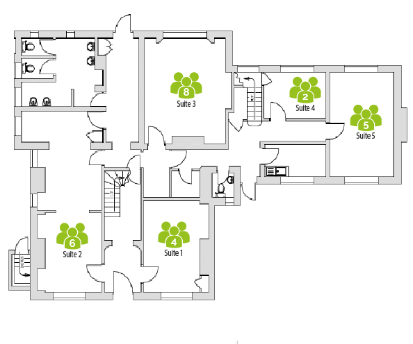 Ground floor office layout of Harpenden Business Centre, Rivers Lodge.