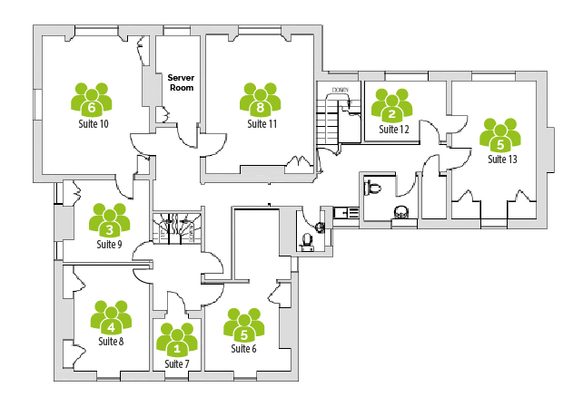 First floor office layout of Harpenden Business Centre, Rivers Lodge.