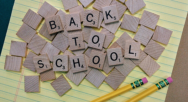 Back to School scrabble tiles on notepaper with pencils - Back to School blog
