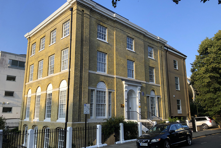 Exterior of Southampton offices for rent at Director General's House - The Workstation