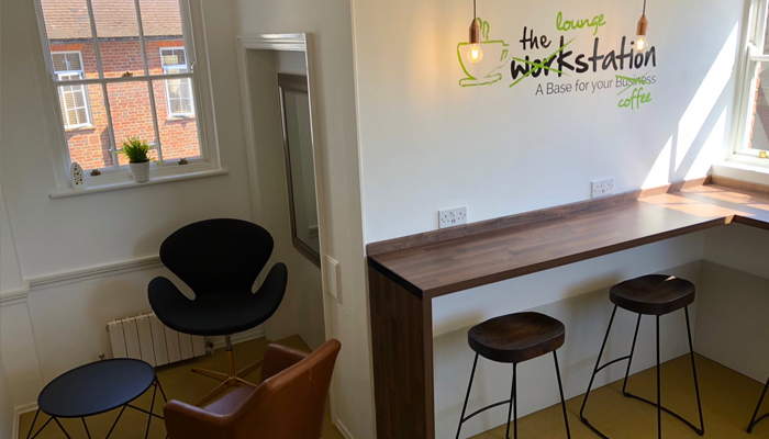 Coffee station and shared breakout area at Markham House business centre and offices in Wokingham