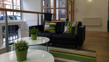 Entrance and reception seating area of Merchant House business centre and shared office space in Abingdon