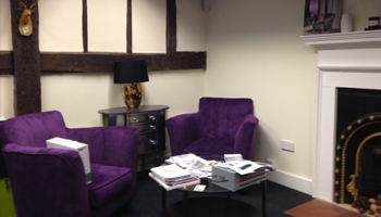 Shared seating area at Hemel Hempstead business centre, Three Gables