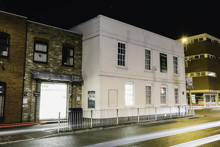 Outside Bellingham House at night - The Workstation St Neots Serviced Offices and Coworking