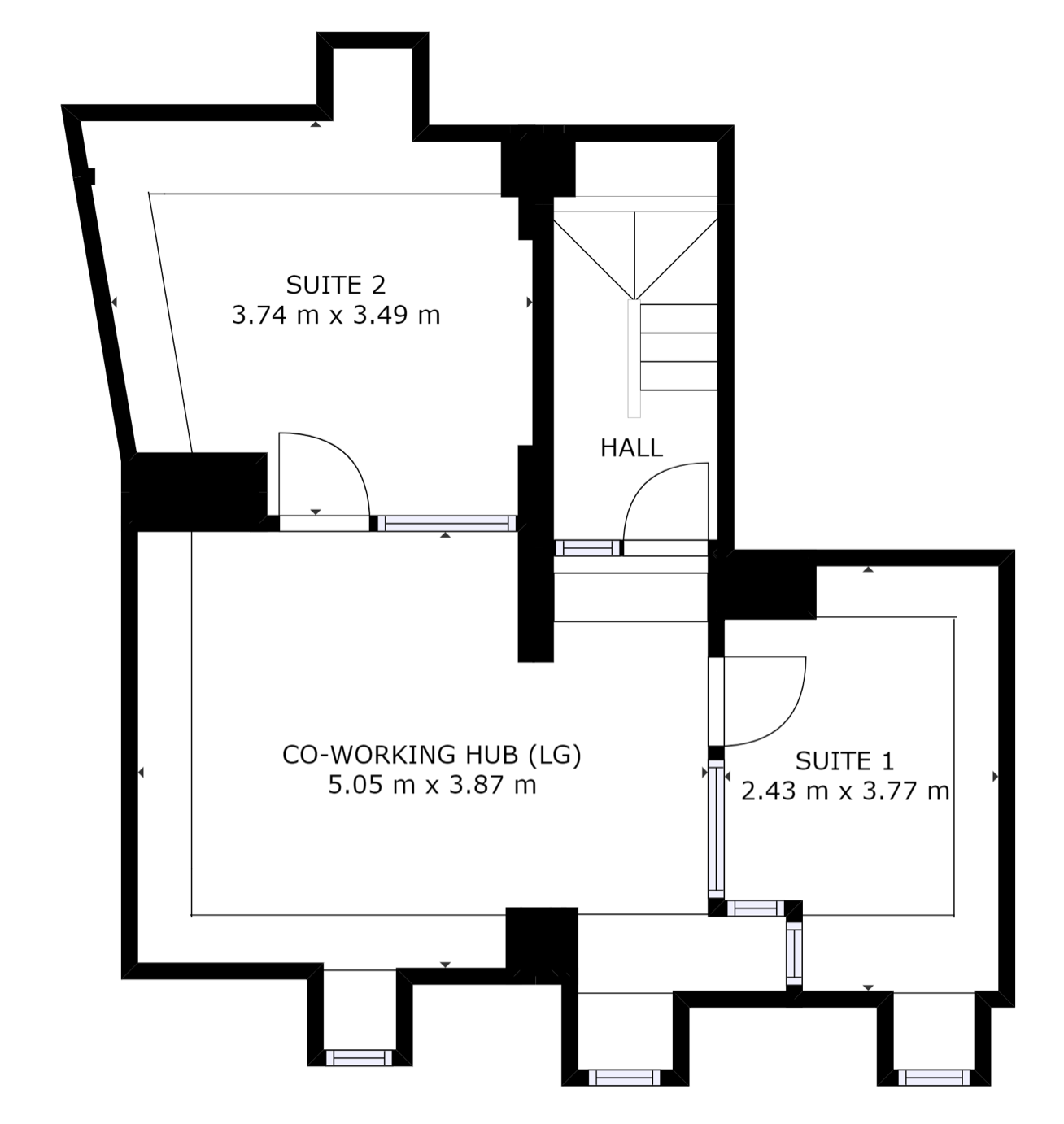Floor plan of lower ground floor of The Workstation, Abingdon with office suites and coworking area