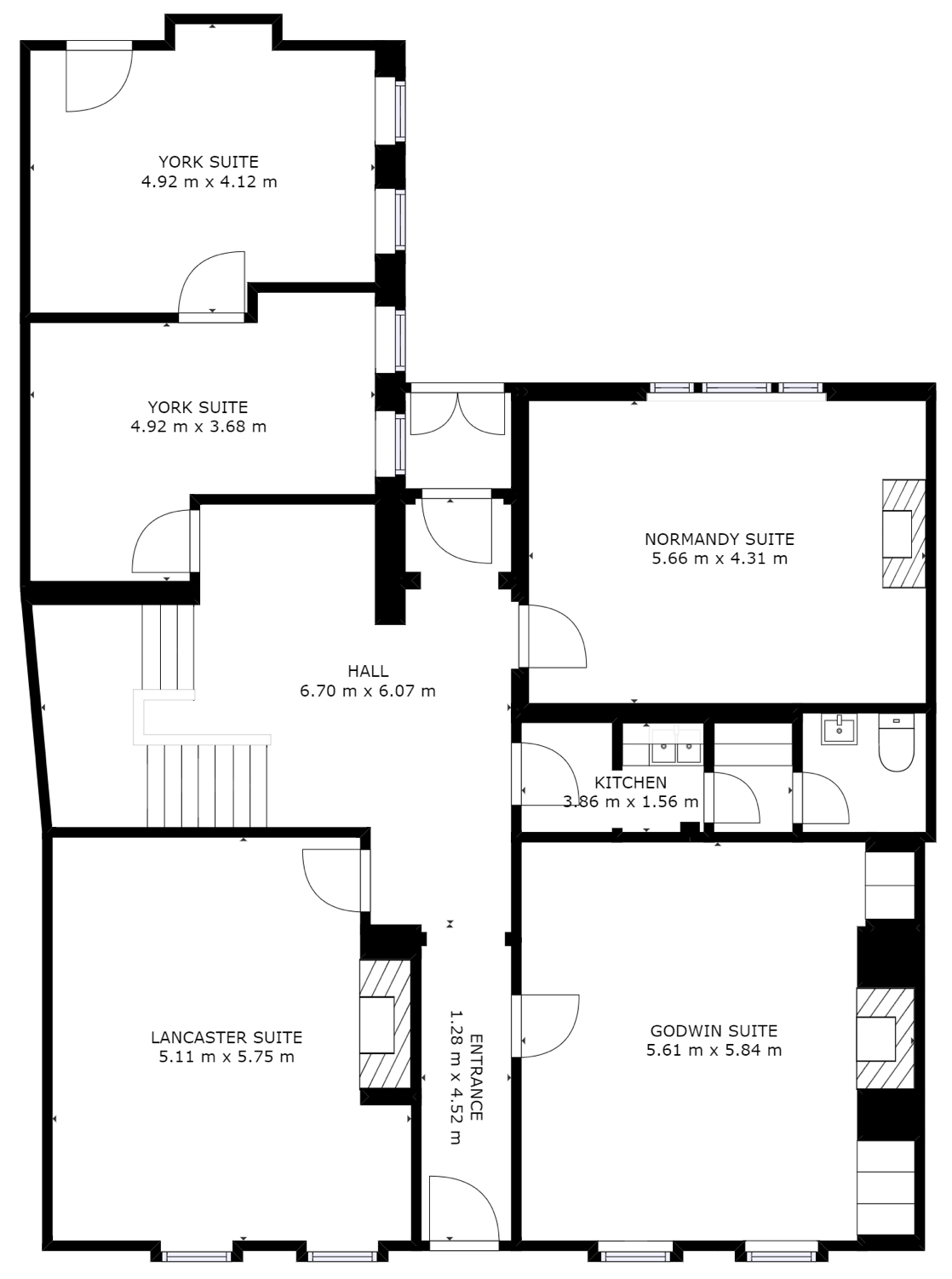 Ground floor plan of offices at Beaconsfield location, Kings Head House