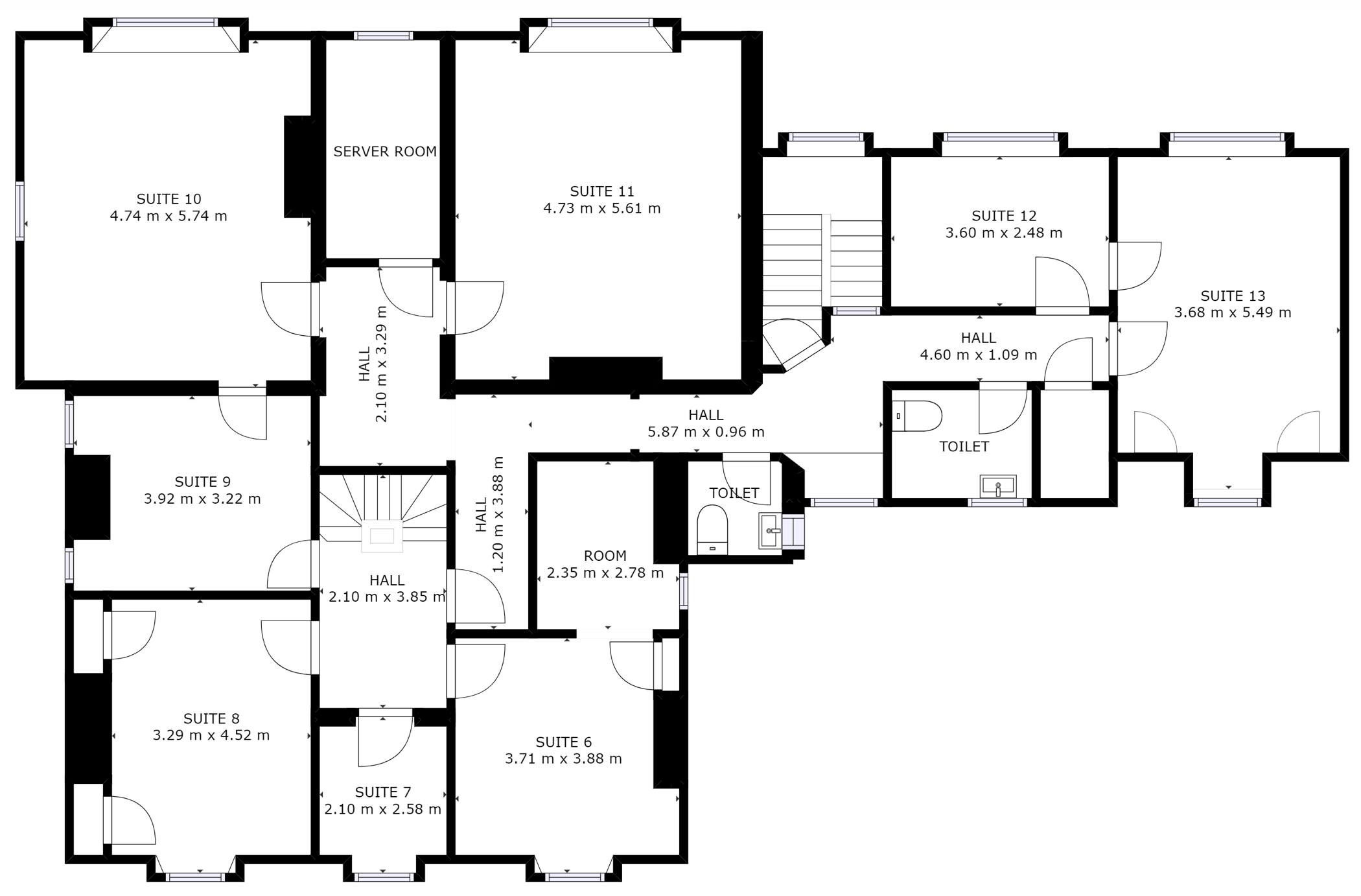 First floor plan of serviced office space at Harpenden business centre, Rivers Lodge