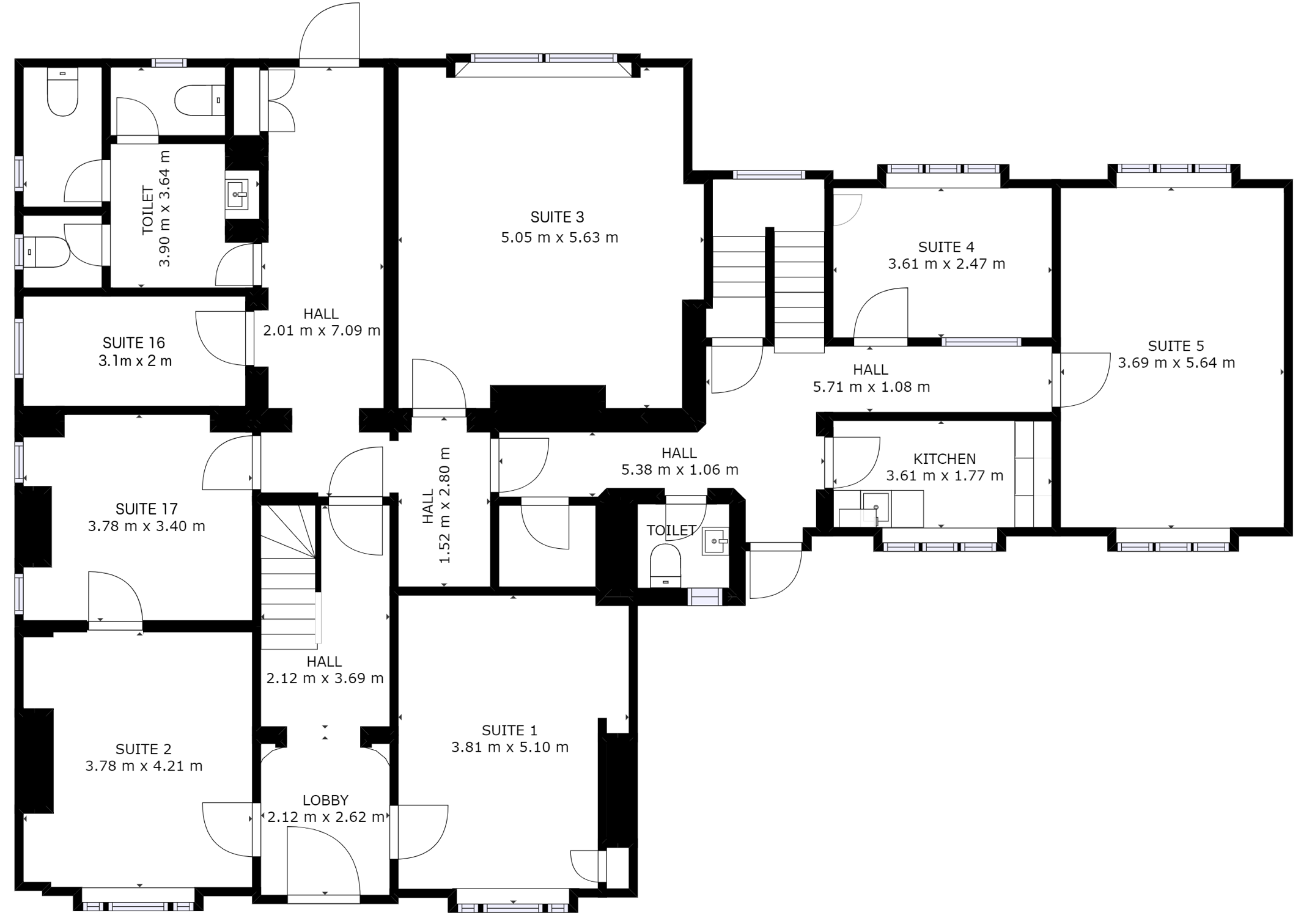 Ground floor office plan of Harpenden business centre, Rivers Lodge