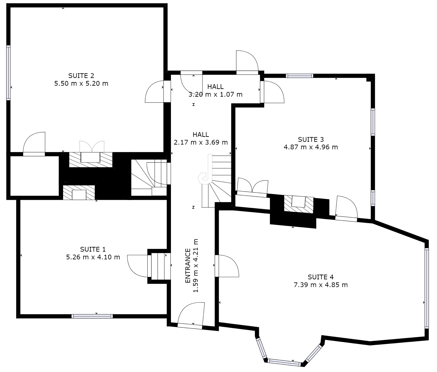 Ground floor layout and offices in Hemel Hempstead at Three Gables business centre.
