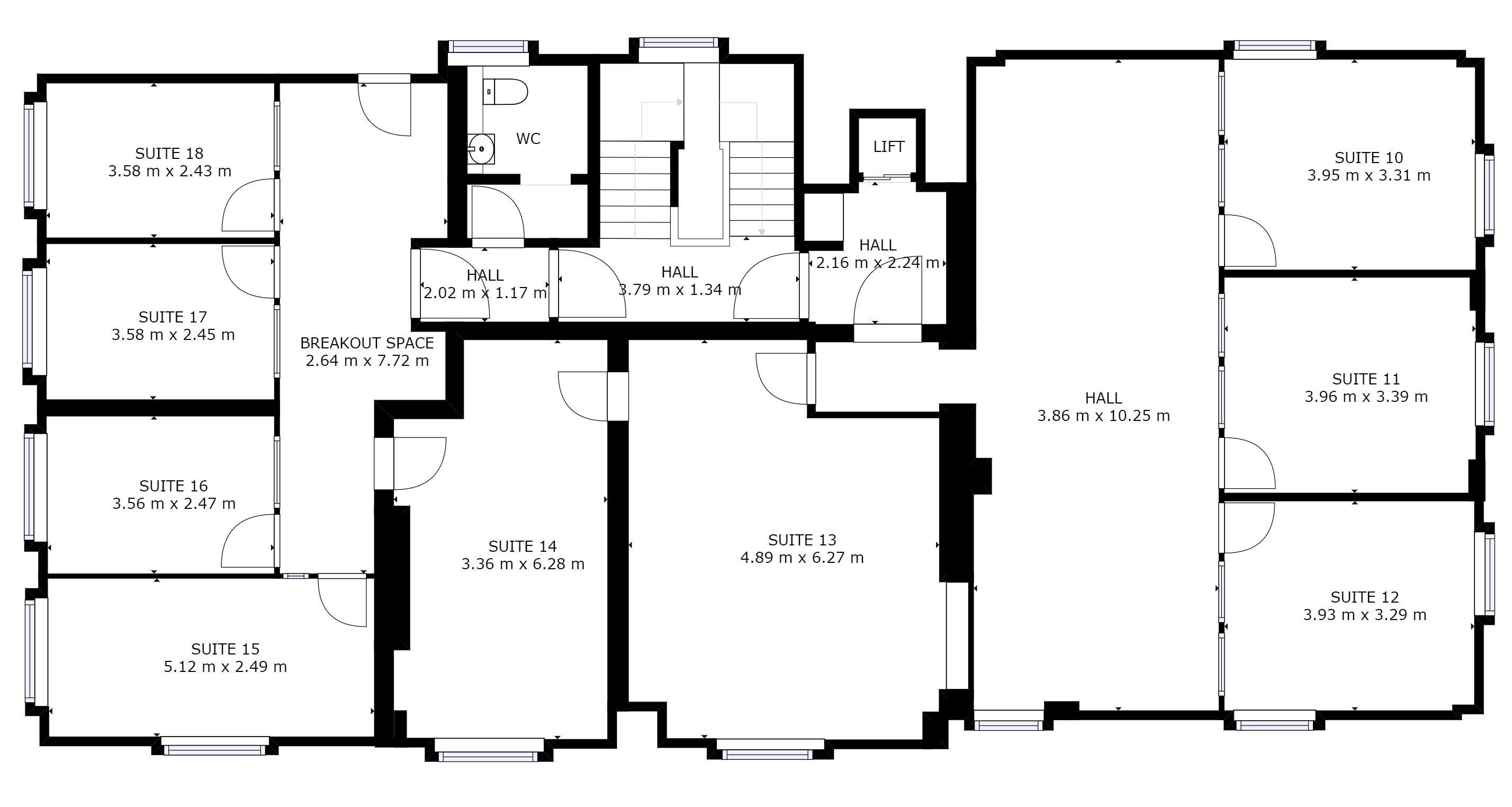 First floor of Director General's House: Floor plan of offices suites available in Southampton at The Workstation