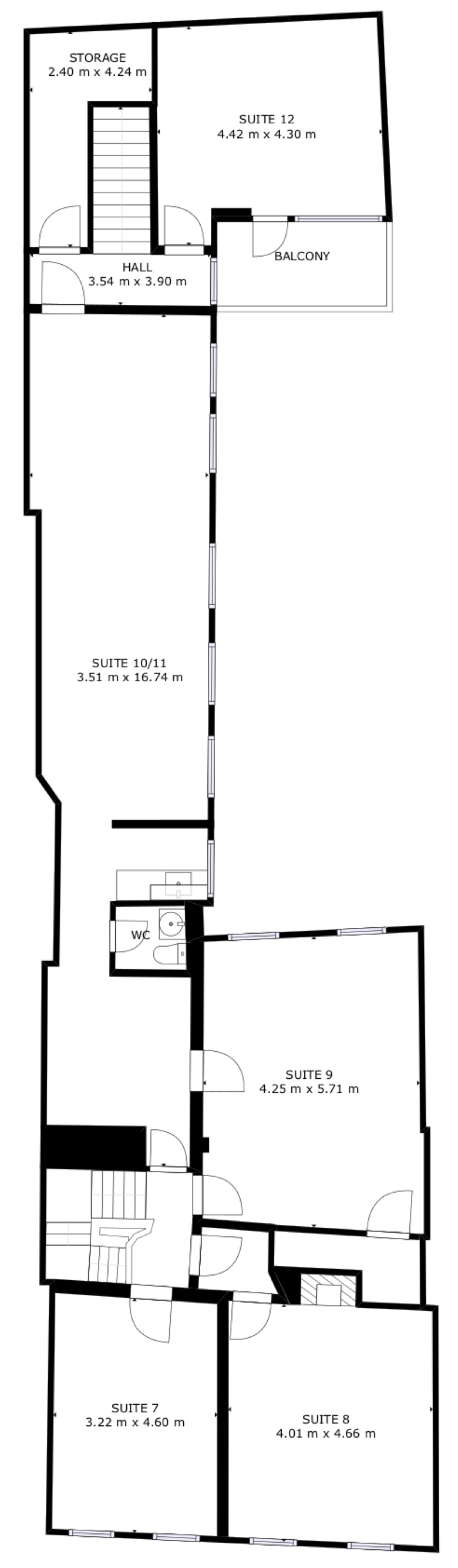 First floor plan and layout of serviced office suites available at St Albans business centre, Censeo House