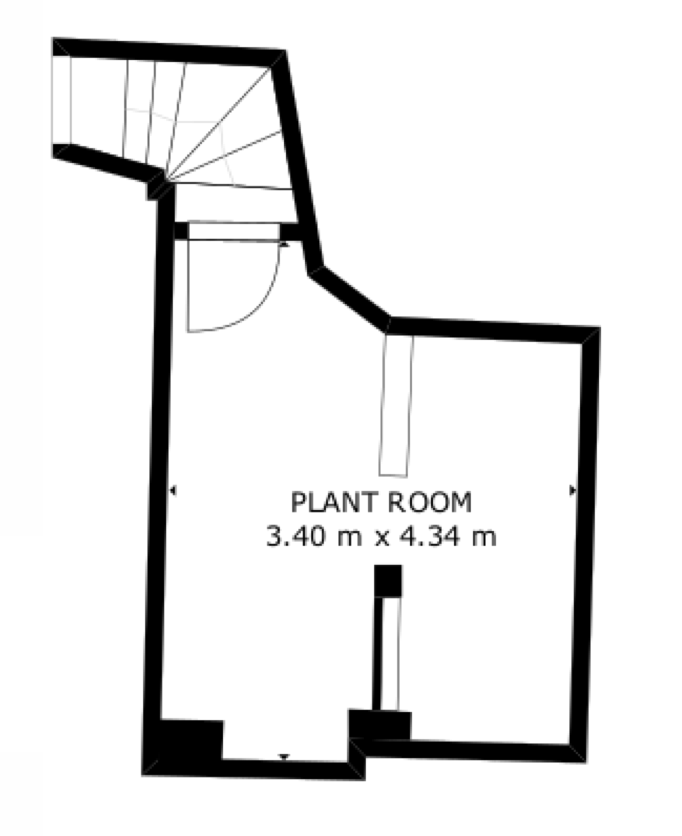 Layout of one half of the basement space at Censeo House, St Albans