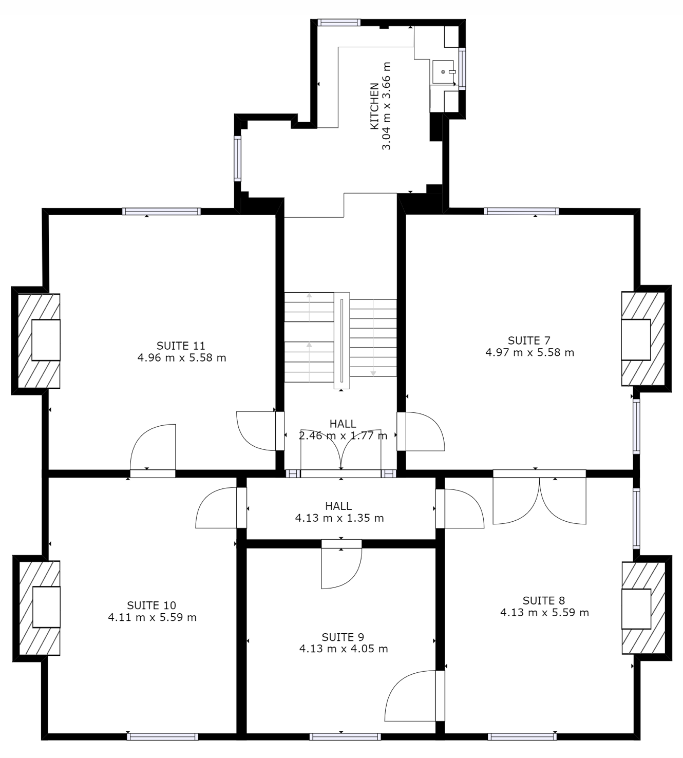 First floor plan of office layout at Markham House, Wokingham
