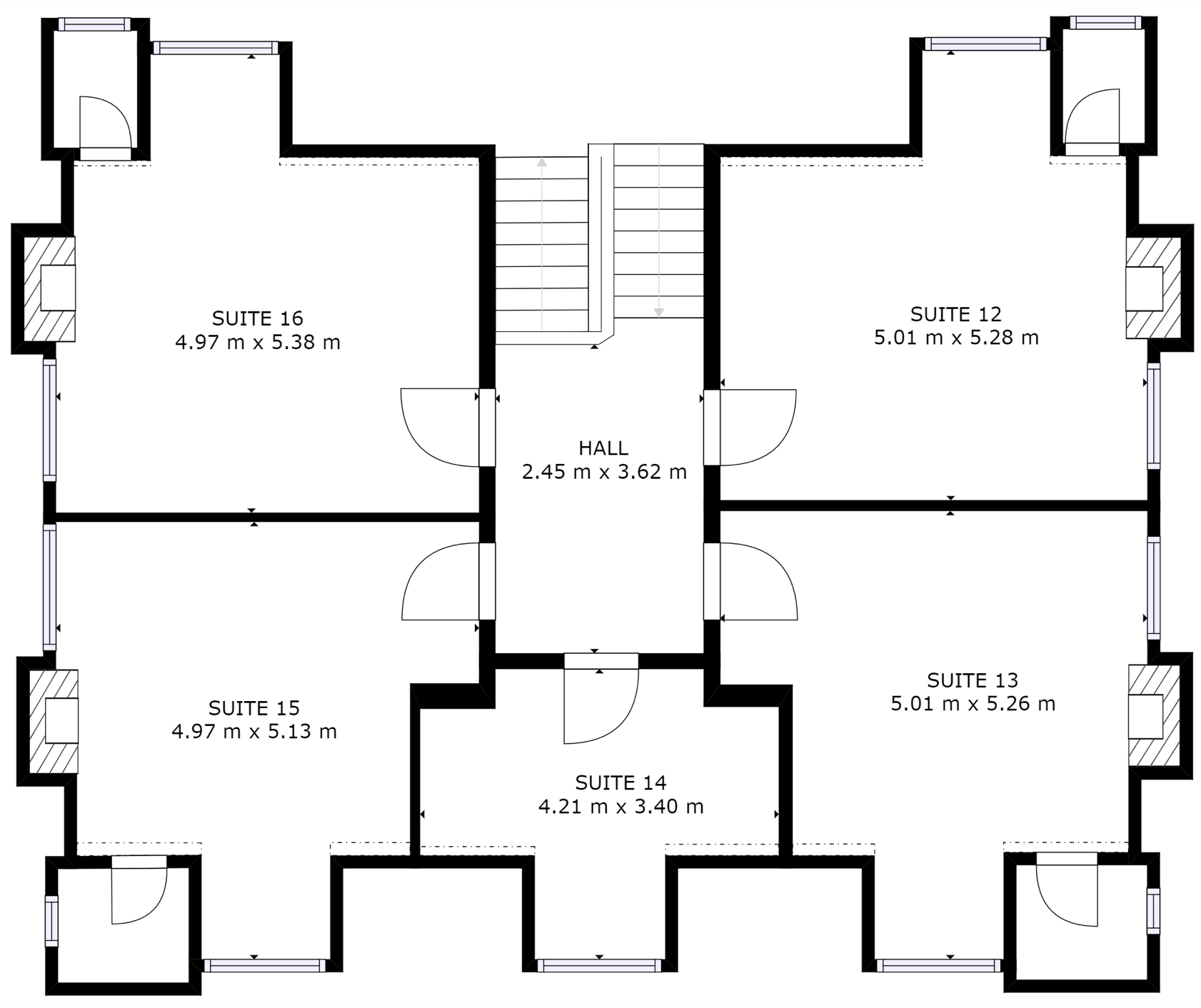 Second Floor Layout of Markham House. Floor plan of private office suite for rent in Wokingham.