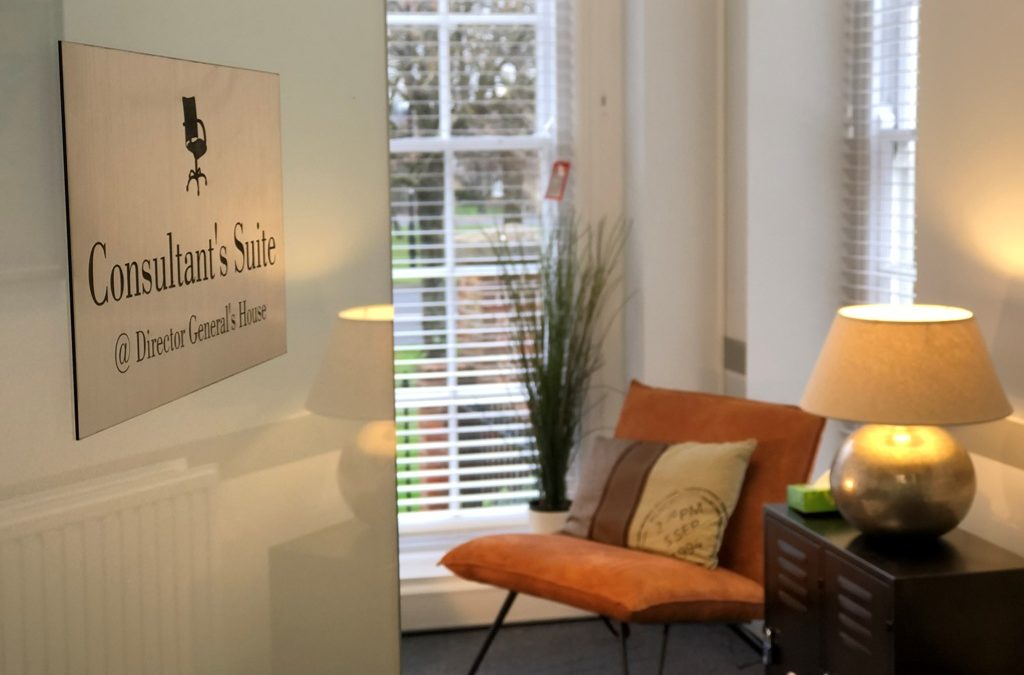 Entrance to the Consultant's Suite therapy room and office at Director General's House in Southampton