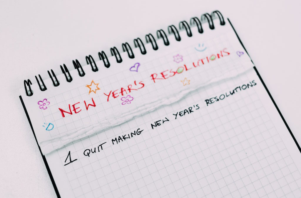 Notepad with list: New Years Resolutions 1) Quite making new years' resolutions