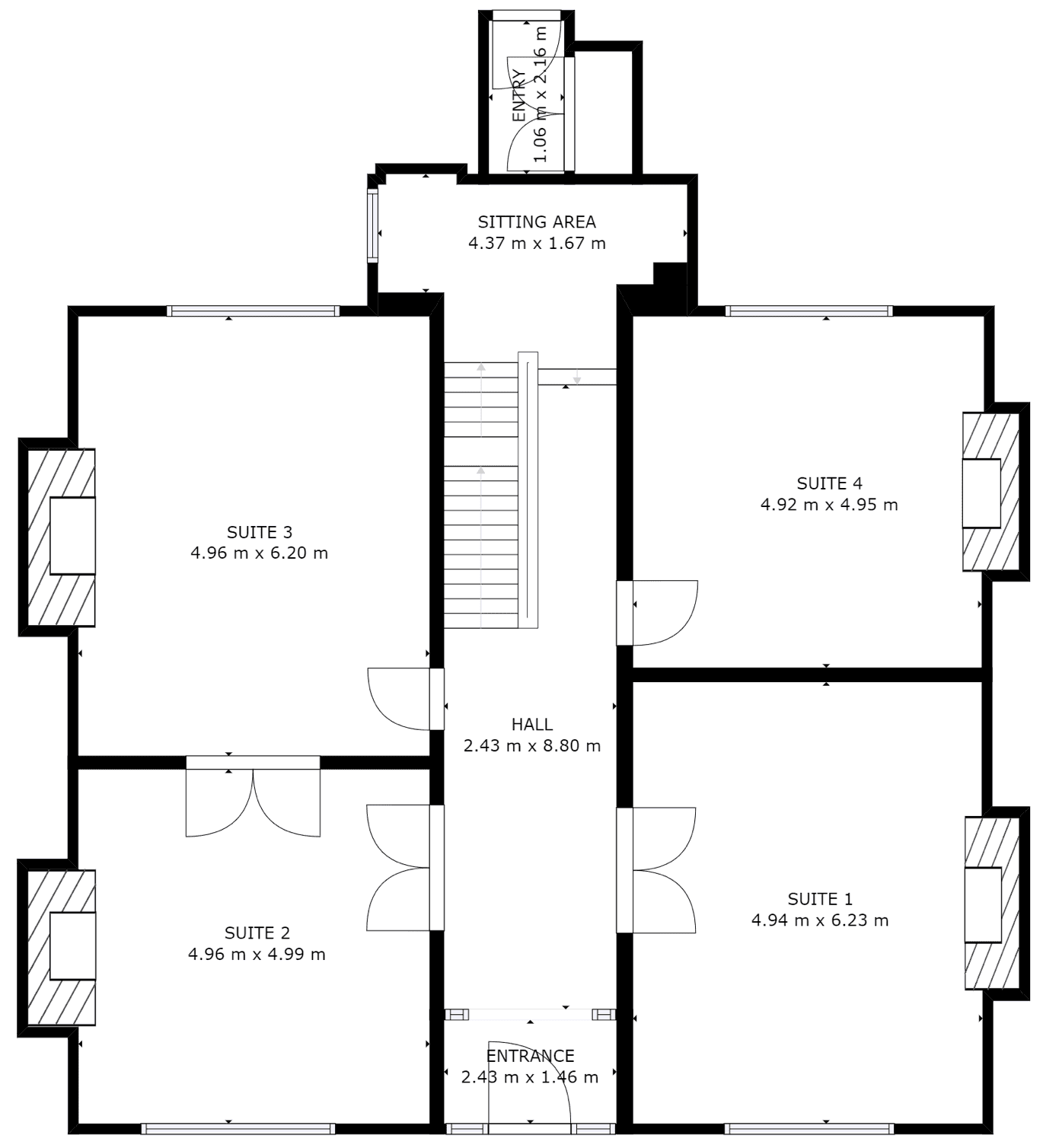 Ground floor plan of private office suites and layout at Wokingham business centre, Markham House