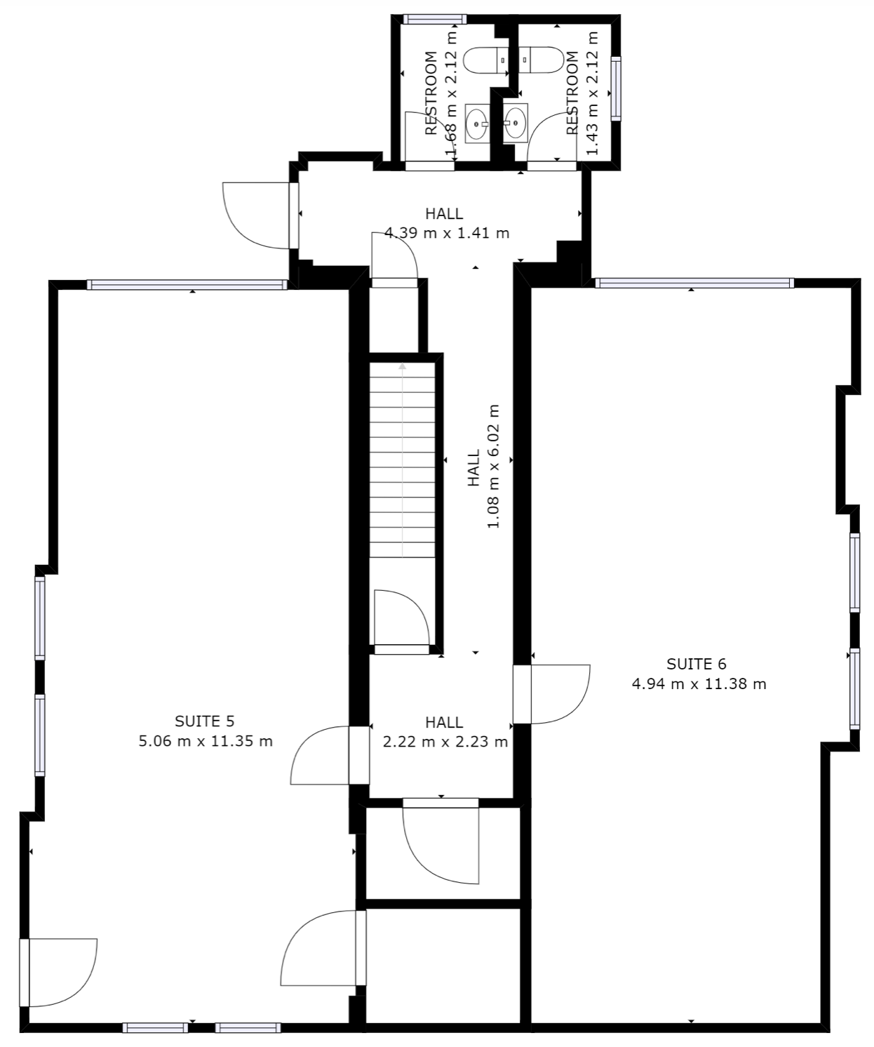 Lower ground/basement floor plan of Markham House and offices to rent in Wokingham