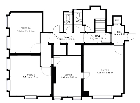 Lower ground floorplan of office space available to rent in Southampton at Director General's House