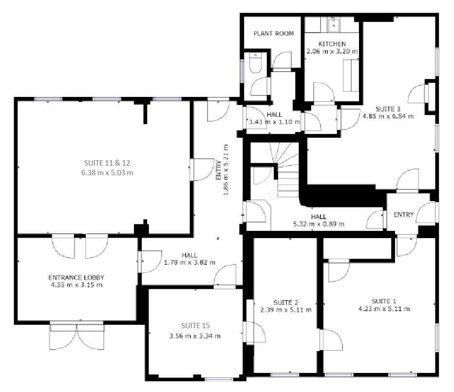 Ground floor plan of coworking and office space to rent at The Workstation in St Neots - Bellingham House