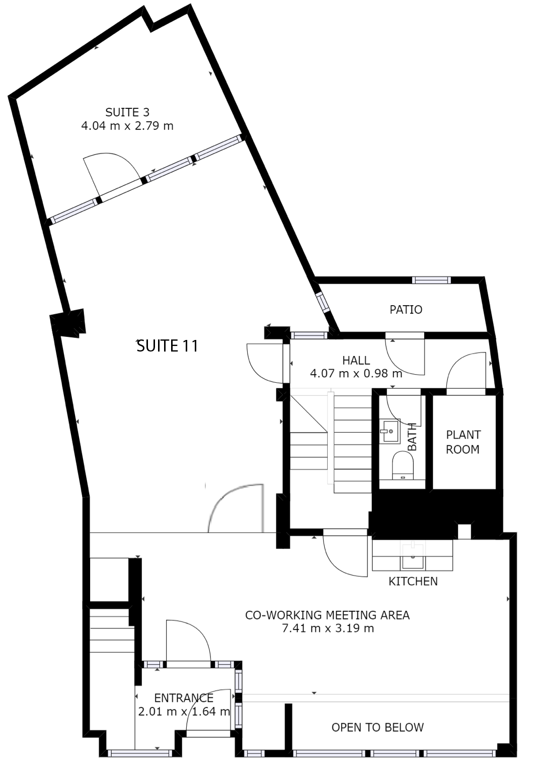 Merchant House Ground floor plan with coworking offices, coworking meeting room and private office suites.