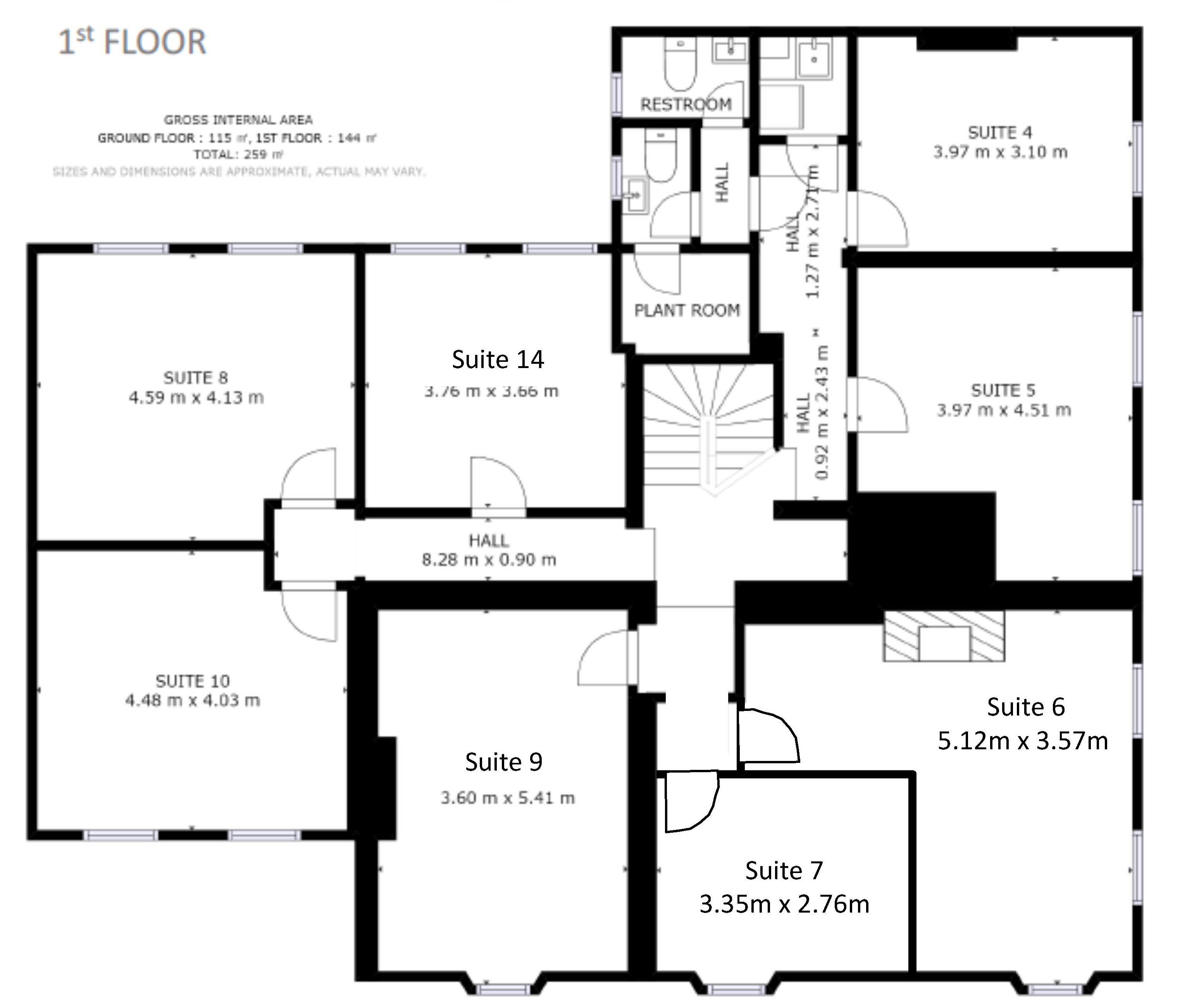 First floor plan of office space to rent in St Neots at Bellingham House