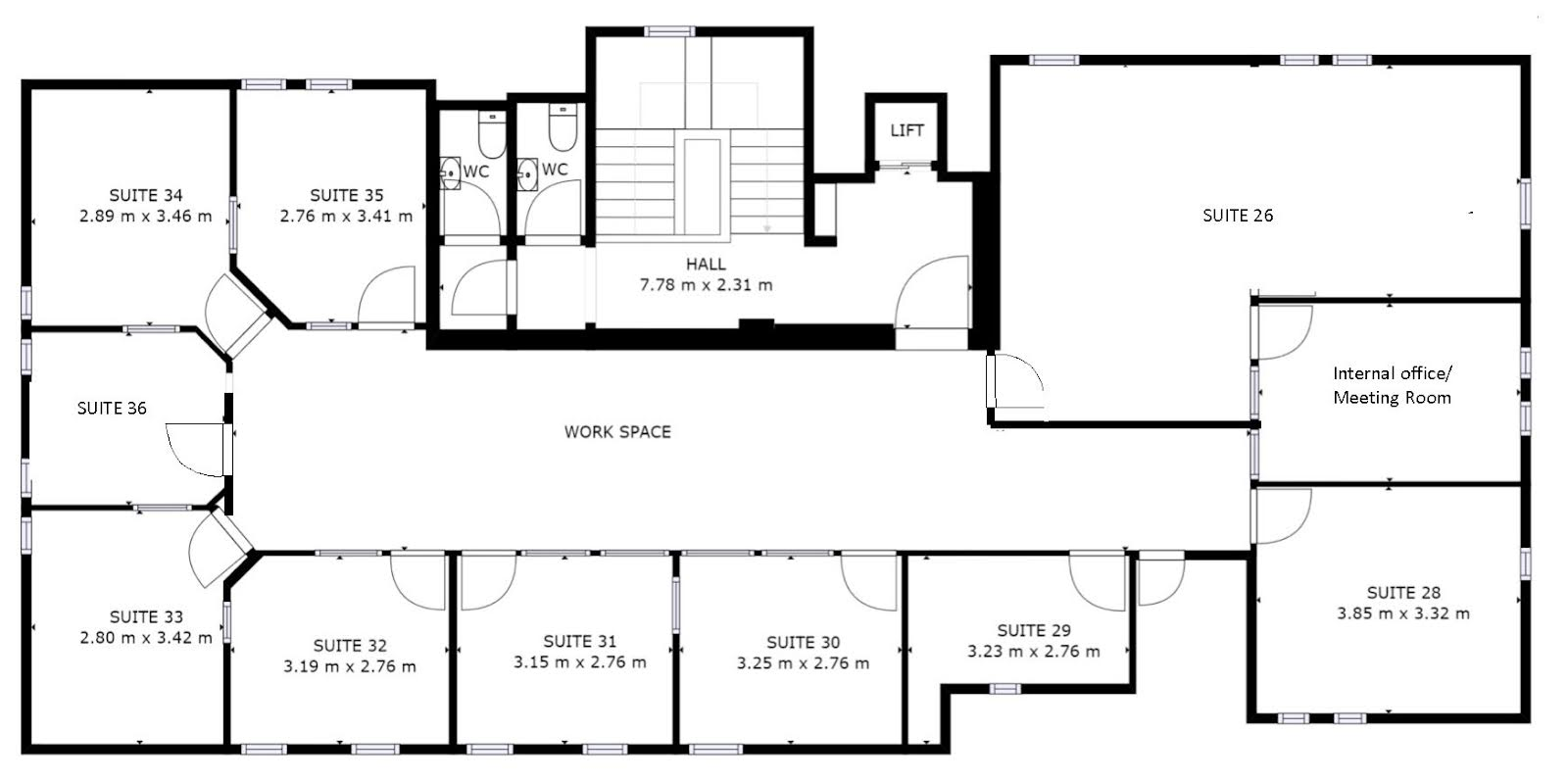 Third floor, Director General's House: floorplan of offices to rent on 3rd floor of The Workstation, Southampton.